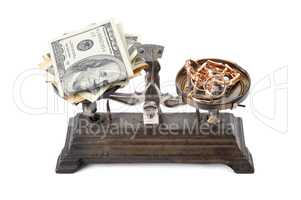 scales, money and gold