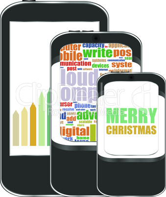 Smart phone with Merry Christmas greetings on the screen, Vector holiday card