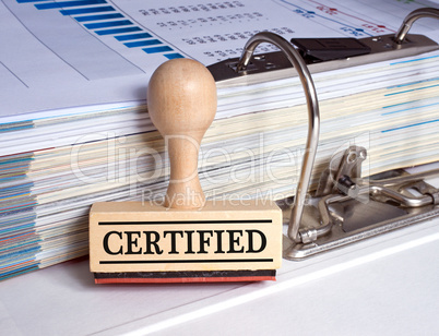 Certified - rubber stamp with binder