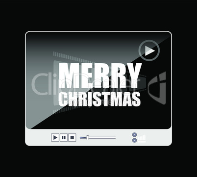 Flat design vector button. merry christmas words on media player