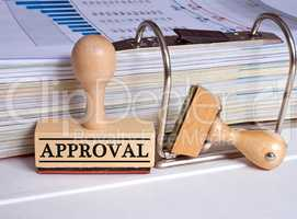 Approval - rubber stamp in the office