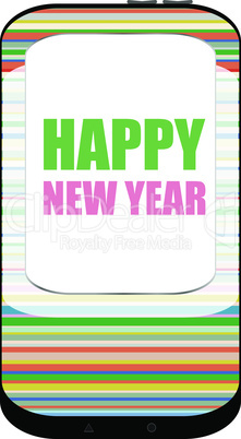 Smart phone with Vector Happy New Year greetings on the screen, Vector holiday card