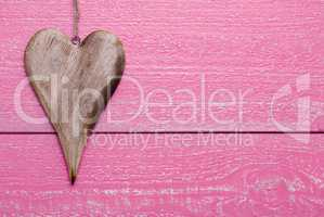 One Heart With Copy Space, Pink Wooden Background