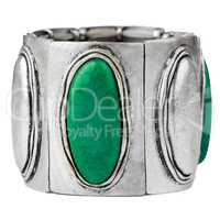 Silver bracelet with green gemstones