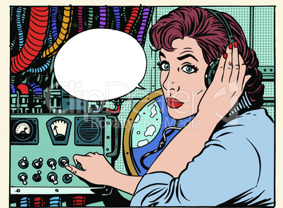 Girl radio space communications with astronauts