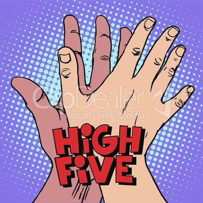 high five greeting white black hand