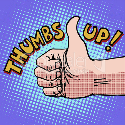 Thumbs up hitchhiking symbol and approval
