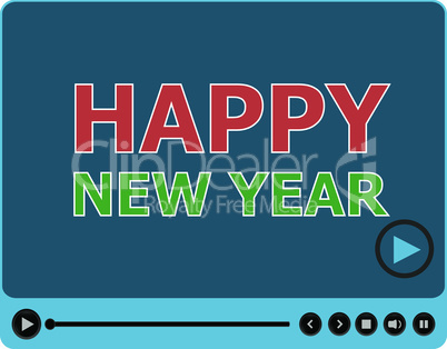 Flat design vector button. Happy New Year words on media player