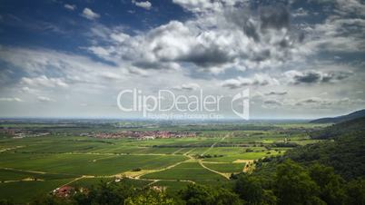 Timelapse of beautiful view over german vineyards