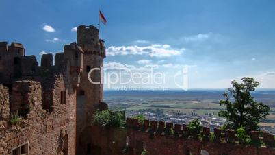 Timelapse of little castle and beautiful view over Palatinate