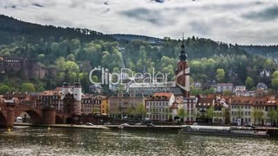 Timelapse of beautiful riverside of Heidelberg city