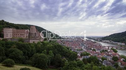 Beautiful sunset-timelapse of the skyline and castle of Heidelberg, Germany