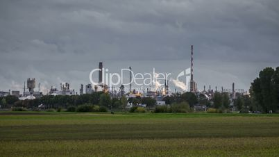 Timelapse of sunset with Chemical Factory in Ludwigshafen