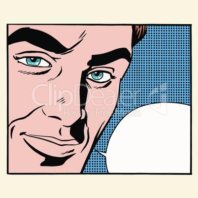 Face beautiful men comic bubble