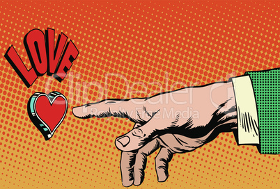 Love romance hand presses button
