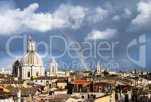 Rainbow over the roofs of Rome