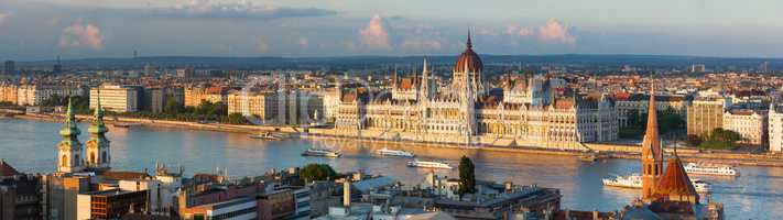 Budapest parliament in the sunset lights