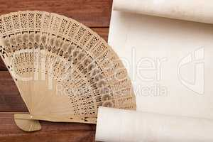 Parchment for your text with a female fan