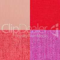 Set of pink fabric samples