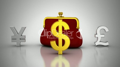 World Currencies Rotate Around Purse