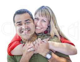 Attractive Mixed Race Couple on White