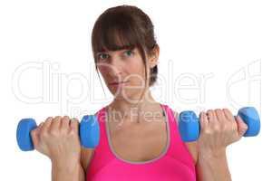 Kraft Power stark Fitness Frau beim Sport Workout mit Hanteln Fr