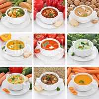 Collage Suppe Suppen gesunde Ernährung Tomatensuppe Gemüse Gem