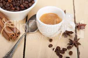espresso coffee with sugar and spice