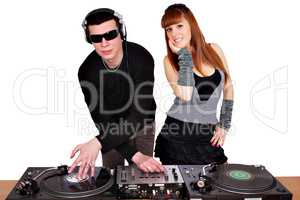 dj with sunglasses and beautiful girl