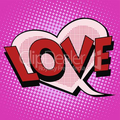 Comic bubble heart shape love