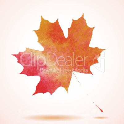 Orange watercolor painted vector autumn maple leaf background