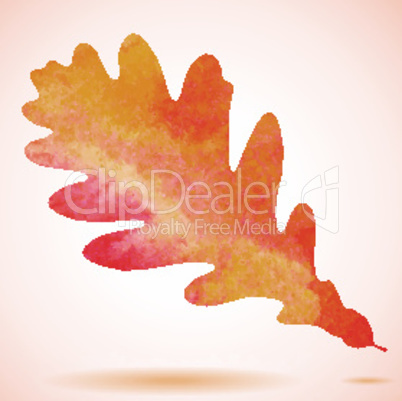 Orange watercolor painted vector autumn oak leaf background