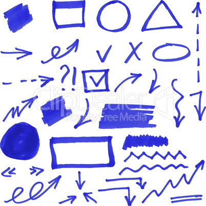 Set of blue vector abstract hand-painted marker