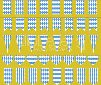 Bunting for Oktoberfest. Bavarian flag pattern.