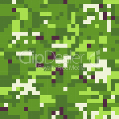 Camouflage military background in pixel style. Seamless pattern.