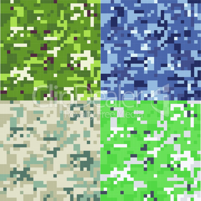 Set of camouflage military background in pixel style. Seamless pattern.