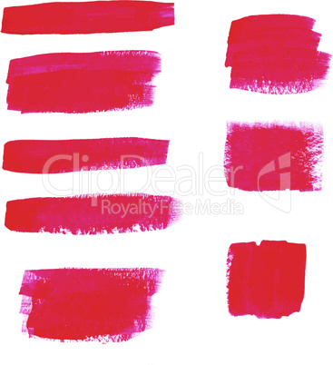 Hand-drawing red textures of brush strokes in random shape