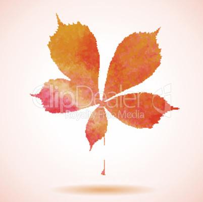 Orange watercolor chestnut leaf