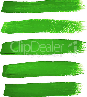 Green ink vector brush strokes