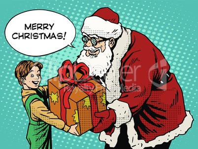 Merry Christmas Santa Claus gift gives the child