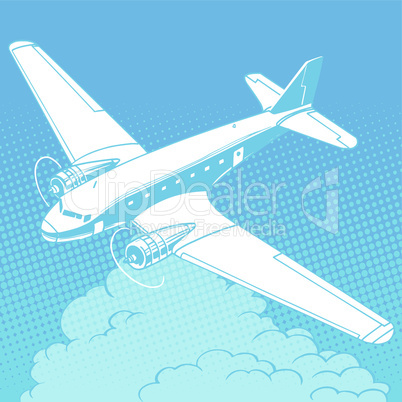 Airplane in the clouds vintage retro travel flights