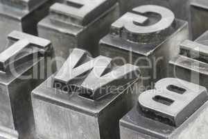 Old lead ink printing type