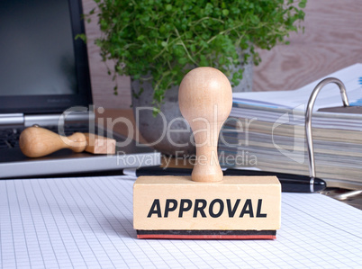 Approval rubber stamp in the office