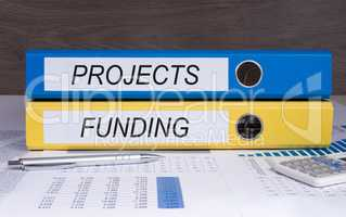 Projects and Funding binders in the office