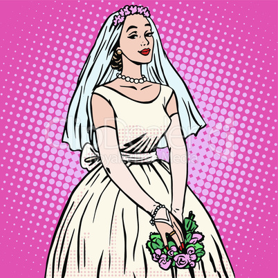 Bride in white wedding dress pop art retro style