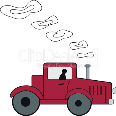 Cartoon red tractor