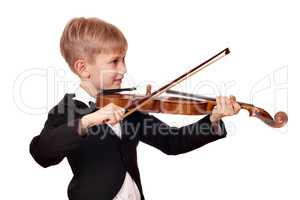 boy in tuxedo play violin