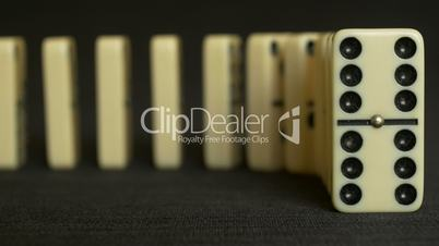 Domino effect frontal shot close up