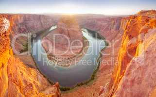 Panoramic overview of Horseshoe Bend near Page, Arizona