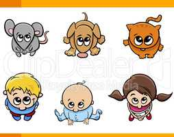 kids and pets cartoon set